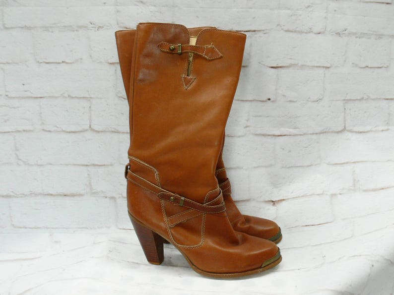702becae7716e Vintage 70s Zodiac Heeled Leather Boots Ankle Straps Western Campus 7 7.5  Flawed Clearance