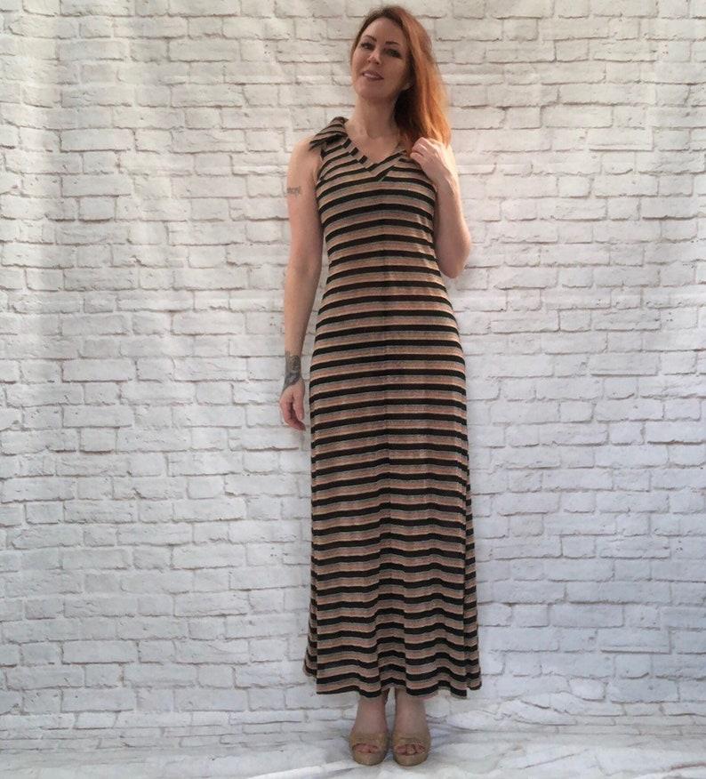 Vintage 60s Metallic Rainbow Striped Maxi Dress Halter Pointed Collar Knit Clearance M L