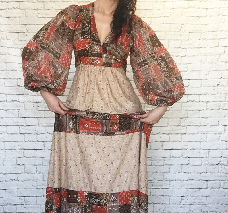 420f8b64041 Vintage 70s Calico Patchwork Maxi Dress Balloon Sleeve Apron