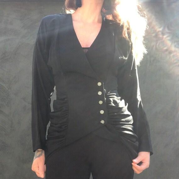 Vintage 90s Victorian Gothic Bustle Ruched Jacket… - image 4