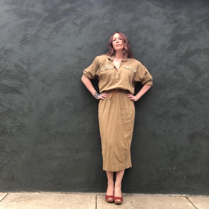 Vintage 80s Dynasty Studded Rhinestone Khaki Safari Midi Dress Flannel M