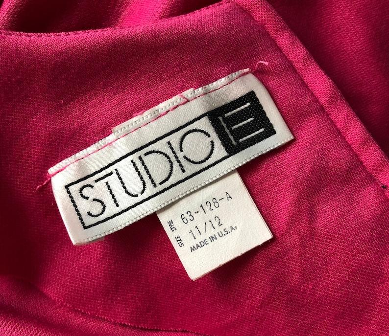 Vintage 80s Pink Knit Dolman Sleeve Midi Dress Gathered Pockets