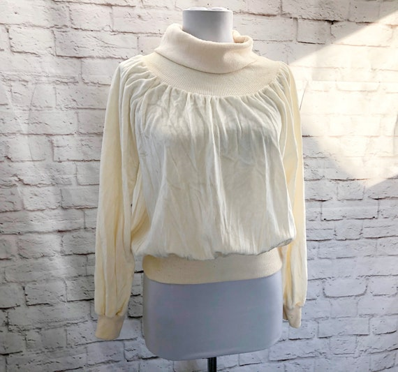 Iconic Vintage 70s Velour Cream Turtleneck Batwing