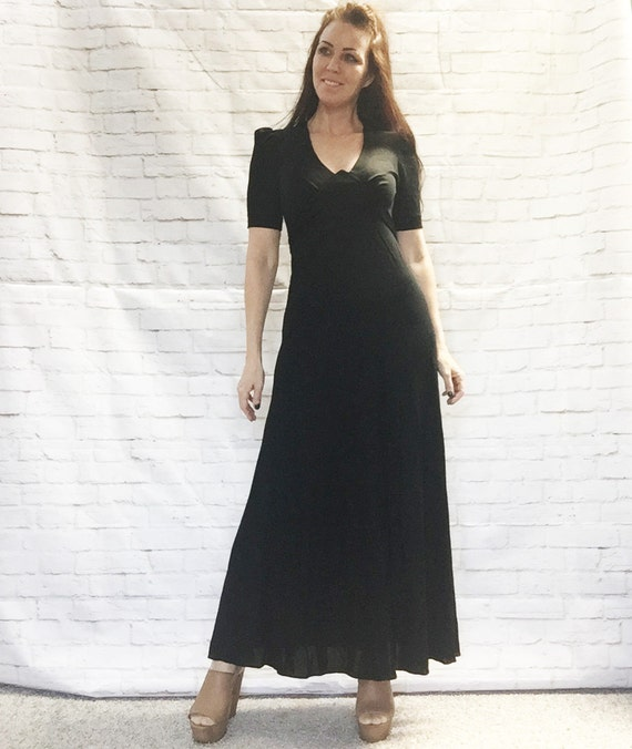 Vintage 60s Black Hostess Maxi Dress S Puff Sleeve