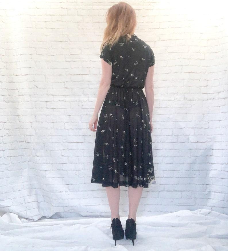 Vintage 70s Border Contrast Print Faux Wrap Dress Black Floral Poppies Abstract Stripes L