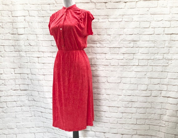 Vintage 70s Strawberry Red French Terry Midi Dress