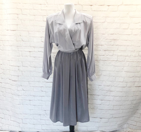 Vintage 80s does 40s Color Block Gray Shirt Dress