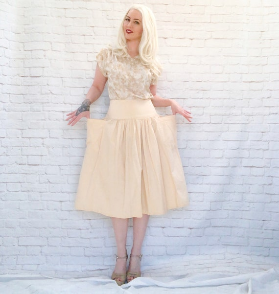 Vintage 70s Safari Riding Skirt M Buttercream Midi