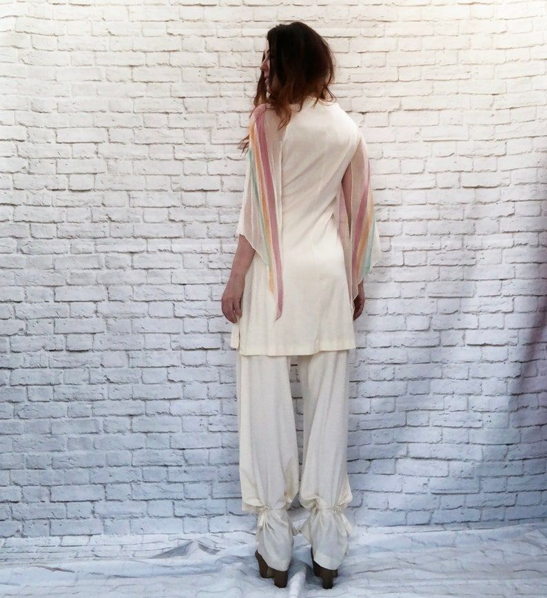 Vintage 70s Striped Convertible Butterfly Wing Jumpsuit Bellbottoms M L Tunic Top Angel Sleeves Rainbow Cream Genie Pants