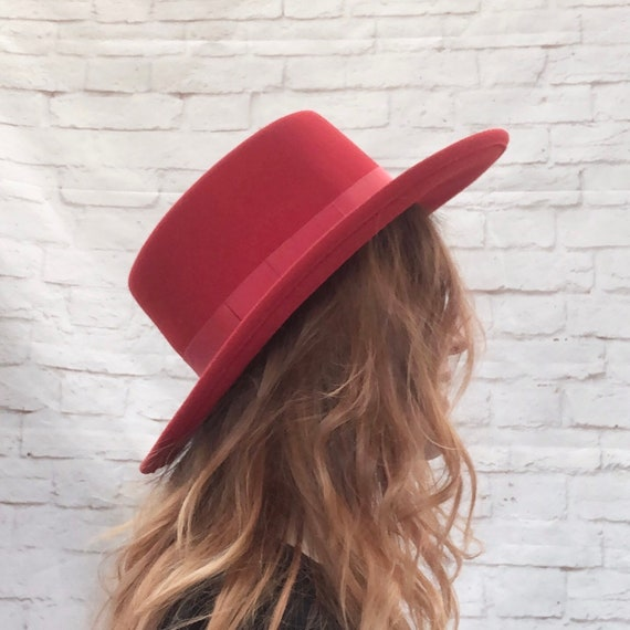 Vintage 80s Red Wide Brim Flat Boater Top Fedora W