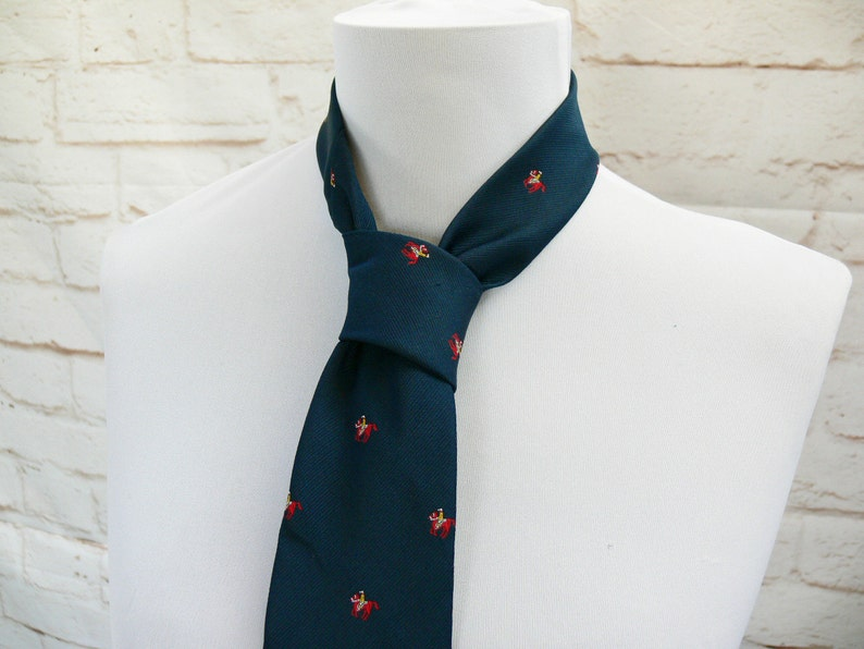c60b39adab7 Vintage 80s Polo Horse Novelty Print Silk Tie Navy Red Pierre