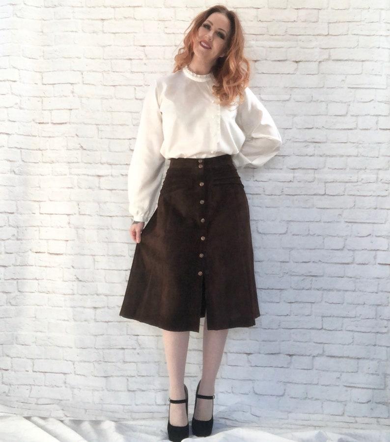 Vintage 70s Brown Suede Leather Midi Skirt Snaps L Hippie Western