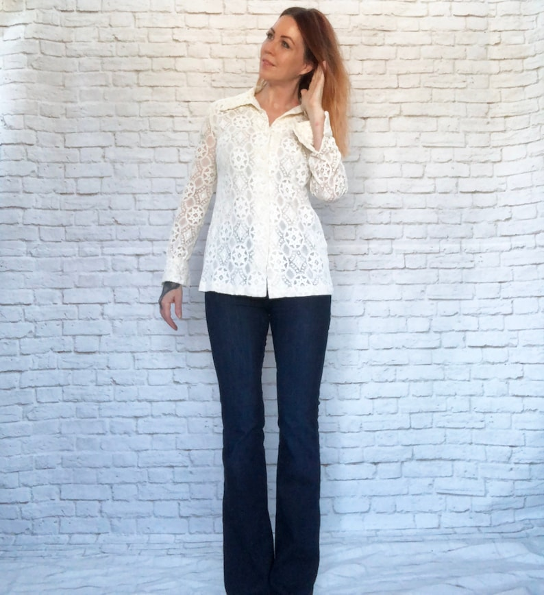 Vintage 60s Mod Sheer Lace Pointed Collar French Cuff Blouse Tunic Top Cream White Long Sleeve M