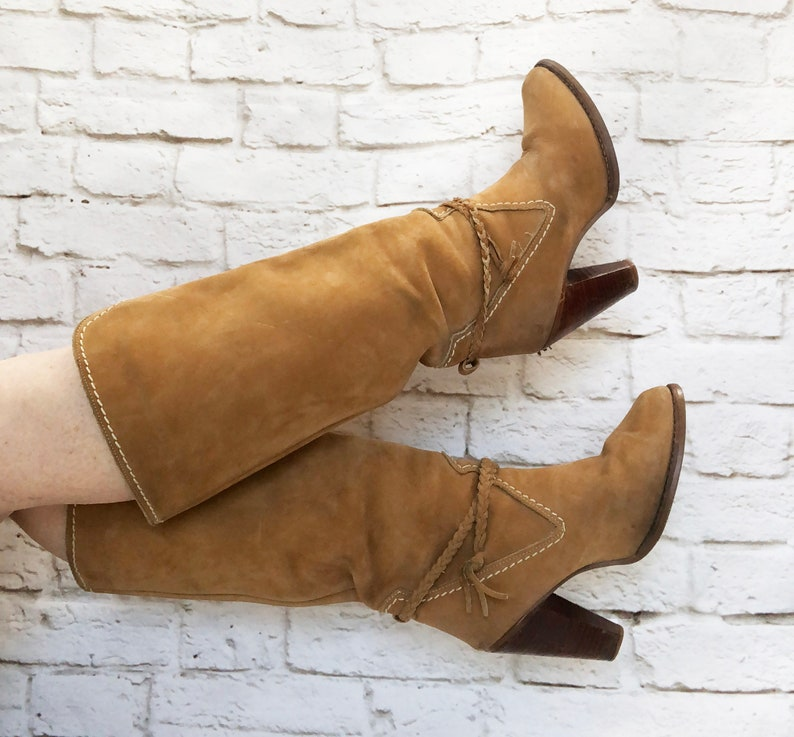 7f869ec534826 Vintage 70s Zodiac Heeled Suede Leather Campus Boots 7.5 8 Braided Ankle  Straps Knee High
