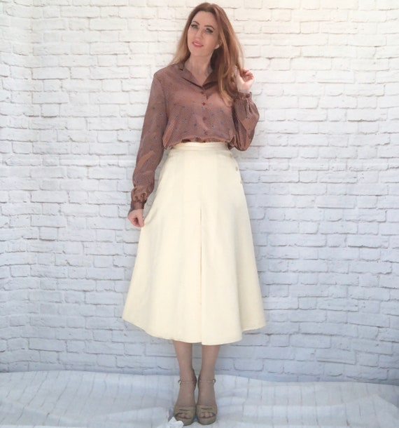 Vintage 80s Calvin Klein Riding Skirt S Beige Wool
