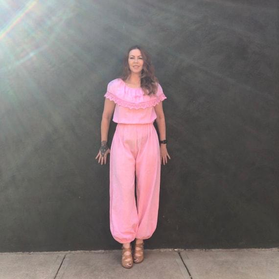 Vintage 70s Hot Pink Gauzy Jumpsuit L Macrame Lace