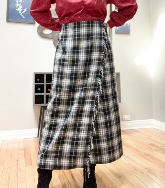 Vintage 90s Plaid Wool Wrap Maxi Riding Skirt L F… - image 4