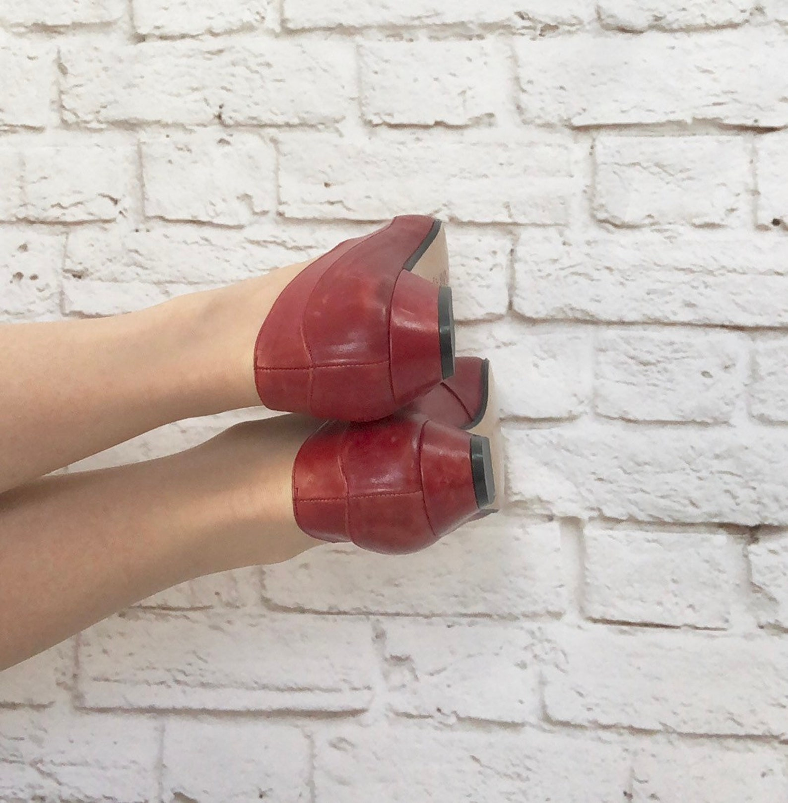 vintage 80s red leather ballet slip-on low heel shoes pumps 7
