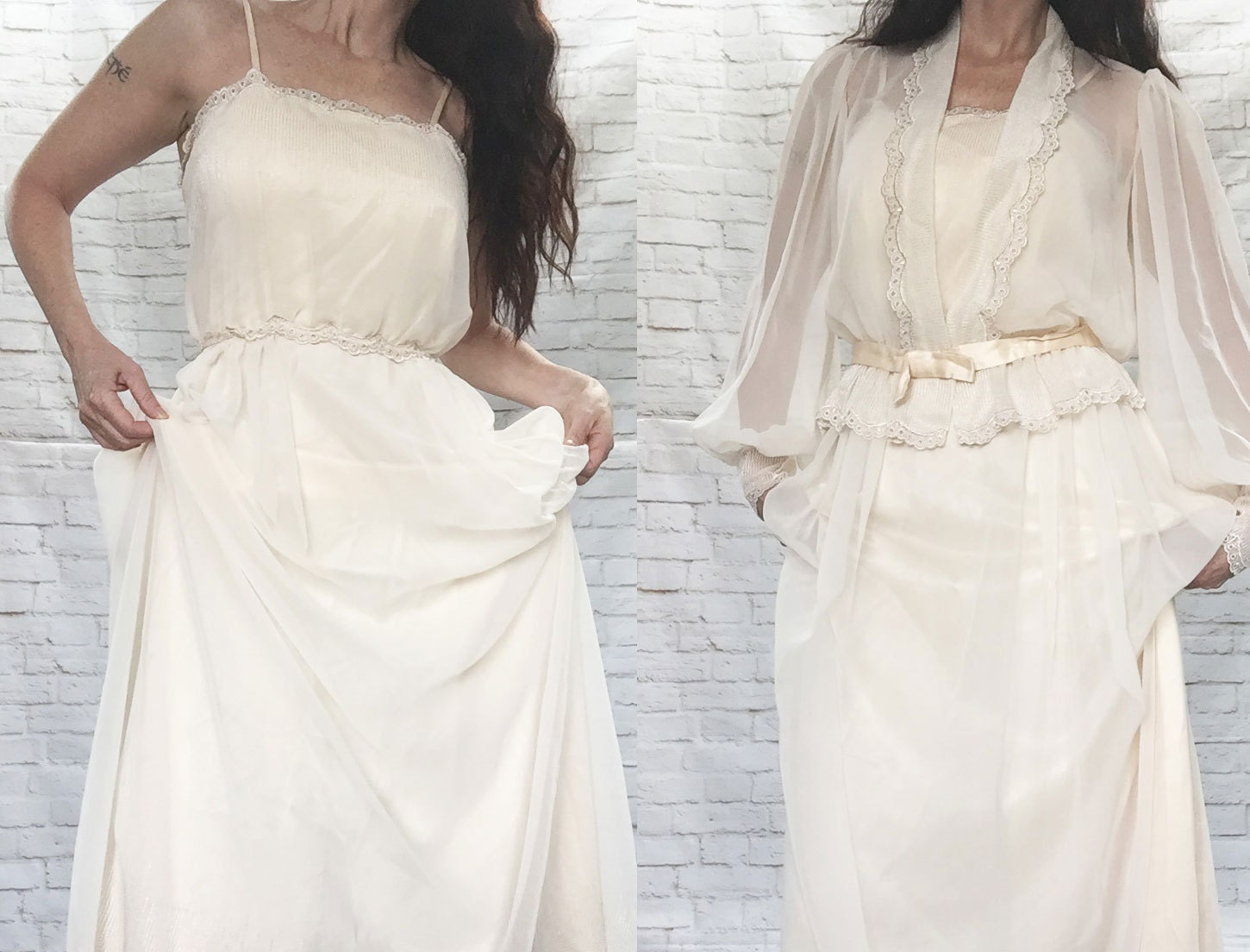 Vintage 70s Does Victorian Edwardian Wedding Dress Set S Sheer Top Cream Lace Embroidered Chiffon
