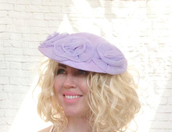 Vintage 40s Lavender Lilac Tilt Saucer Fancy Hat F