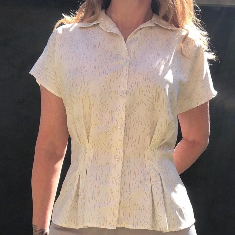 Vintage 80s Confetti Rain Print Peplum Blouse Top M L Cream Pastel Pleated Cap Sleeve