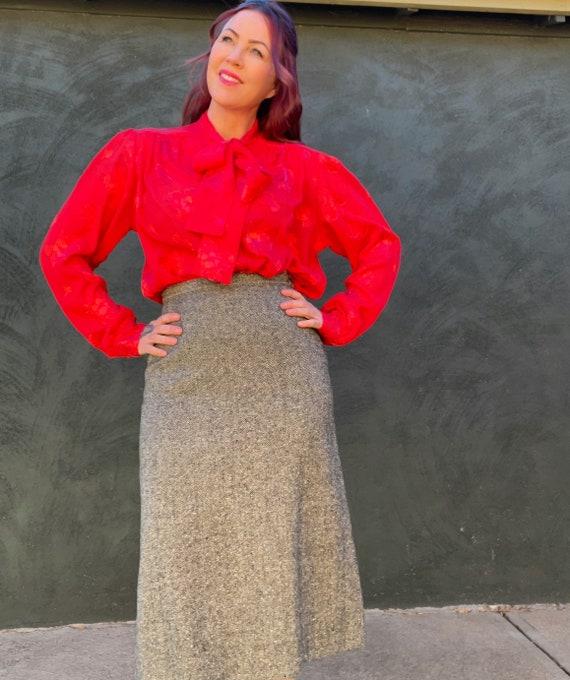 Vintage 80s Sheer Red Floral Embossed Tie Collar B