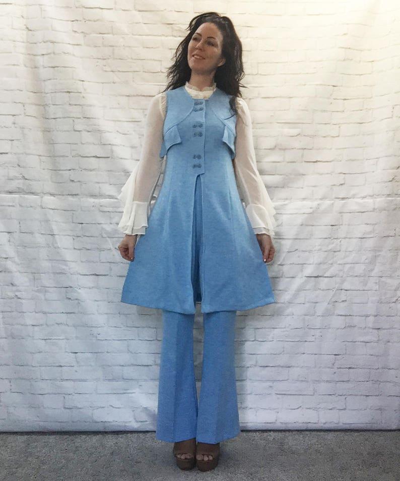 Kostuumvest Op Jeans.Vintage 60s Military Mod Edwardian Bellbottom Pants Dress Suit Duster Vest Xs S Blue Knit Nos Zum Zum