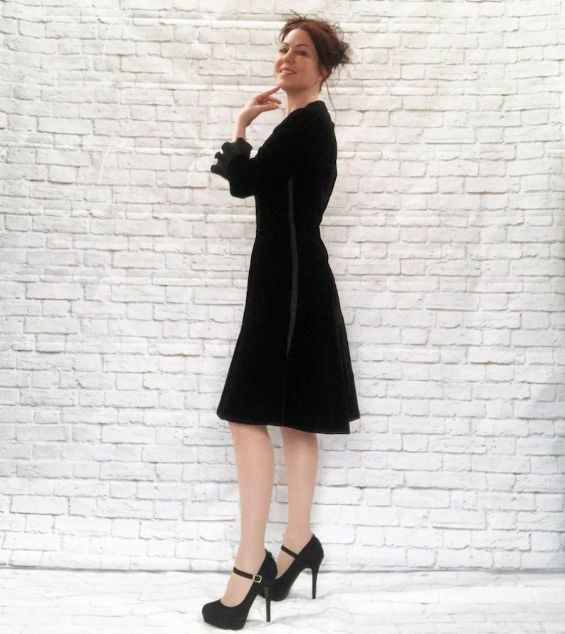 908e019ce7a Vintage 50s Tuxedo Stripe Black Velvet Fluted Sleeve Cocktail