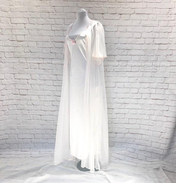 Vintage 70s Night Gown Sheer Robe Sleep Lounge Set