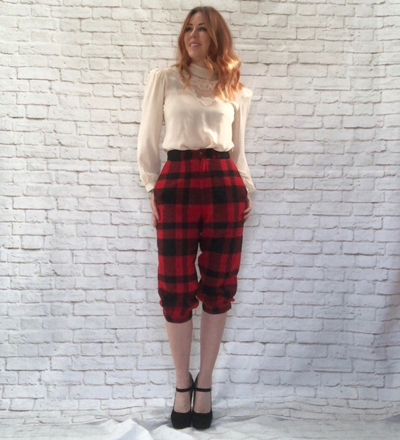 size 40 brand quality big collection Vintage 80s does 20s Ralph Lauren Newsboy Knickers Red Black Buffalo Plaid  Cropped Hunting Pants S M