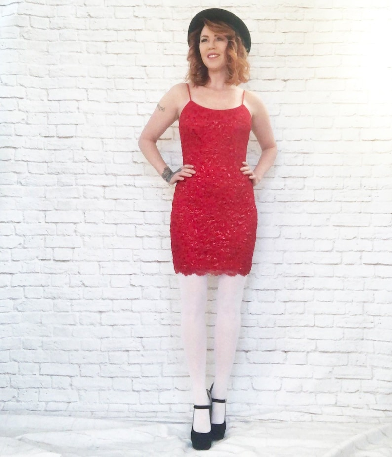 8a10d45b0eb9 Vintage 90s Ruby Red Metallic Mesh Lace Mini Slip Dress S M | Etsy