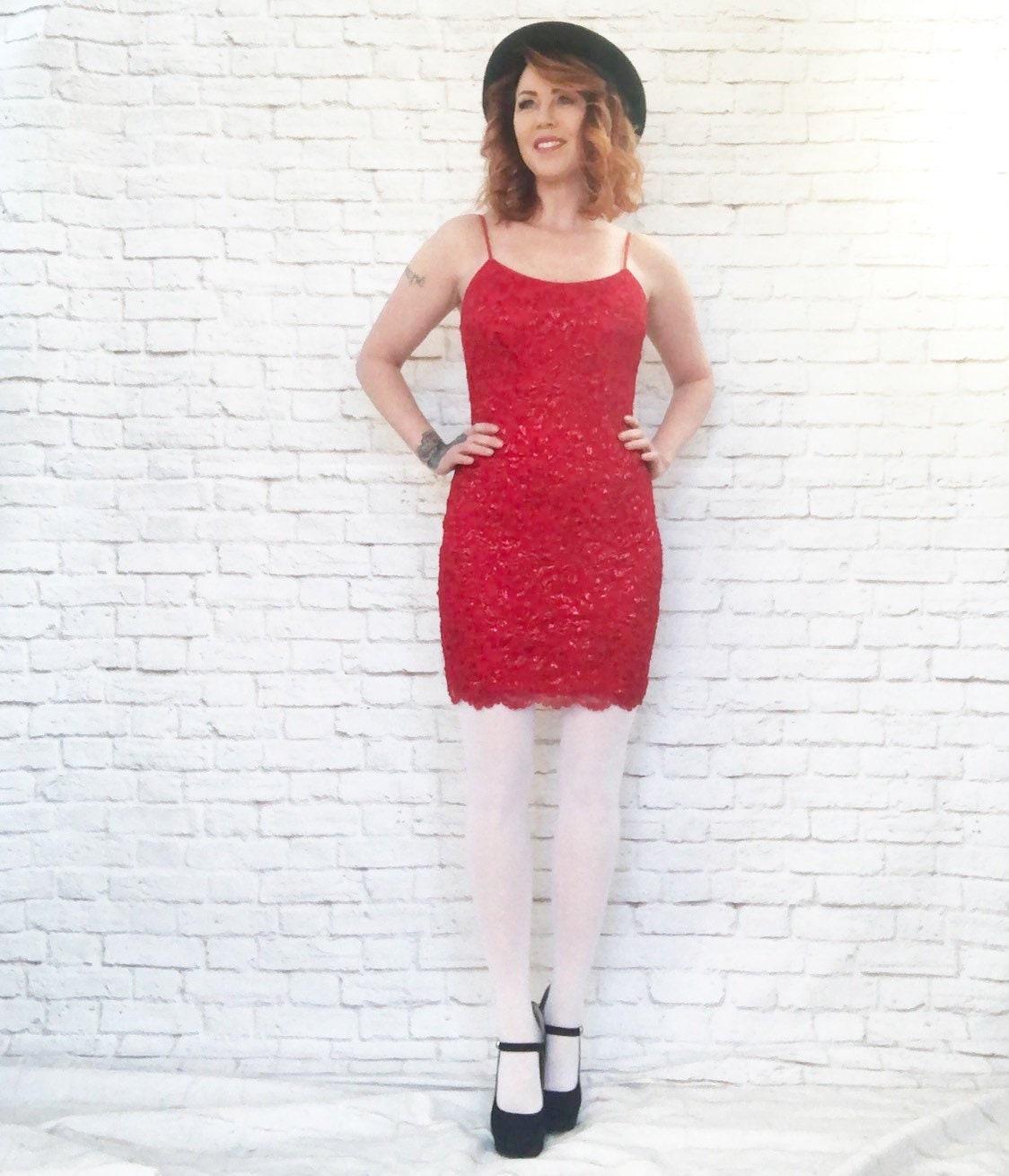 23762fd0927 Vintage 90s Ruby Red Metallic Mesh Lace Mini Slip Dress S M