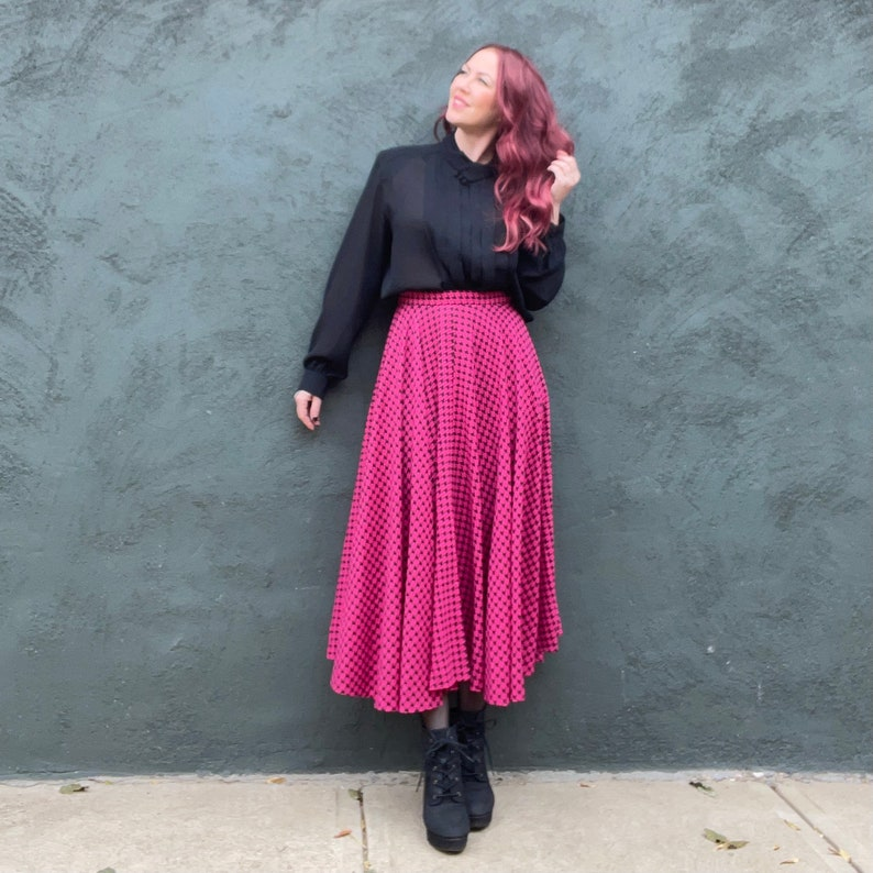 Vintage 80s Hot Pink Black Houndstooth  Check Full Circle Swing Maxi Riding Skirt S
