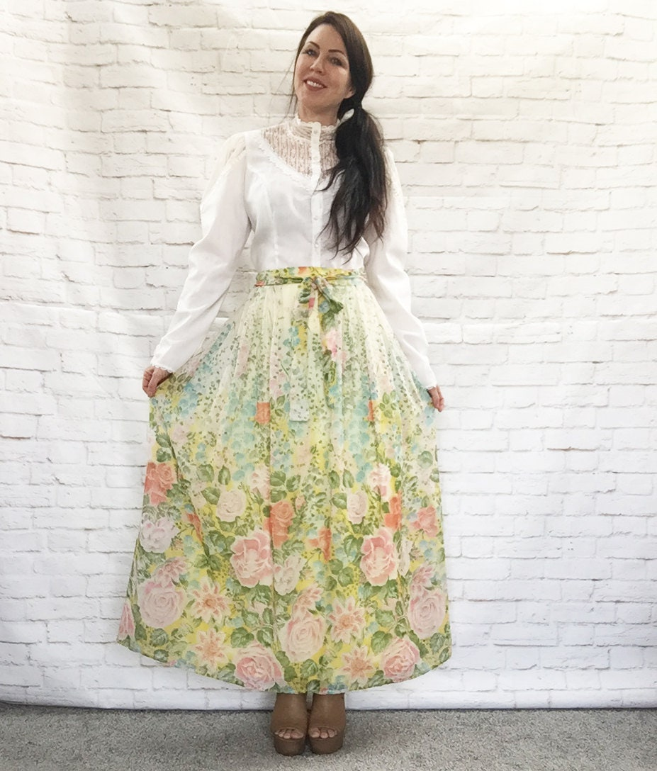 Vintage 60s Sheer Cascade Watercolor Floral Belted Maxi