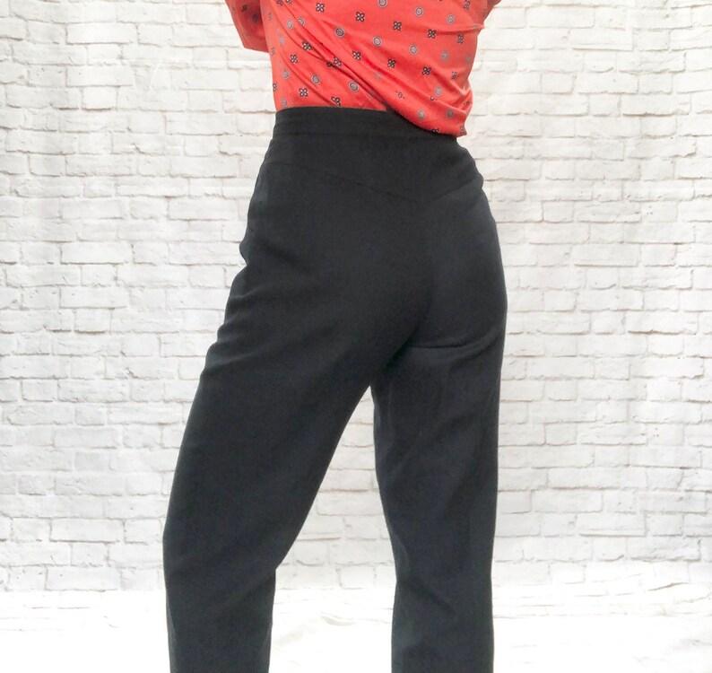 Vintage 60s Navy Sailor Button Linen High Waist Ankle Embroidered German Designer Pants Slacks Pockets S