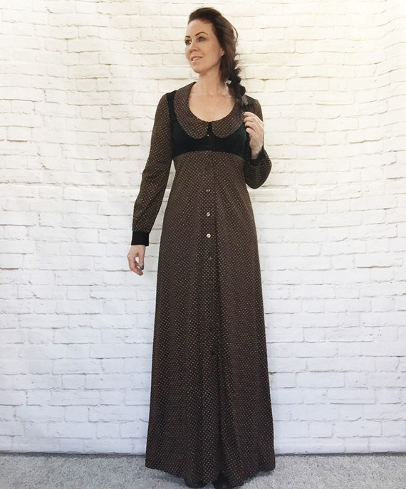 Vintage 70s Polka Dot Hostess Maxi Dress Apron Bel