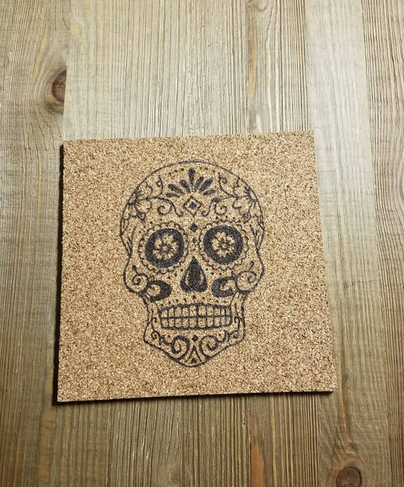 Sugar Skull Kitchen Decor Cork Trivet Sugar Skull Skulls Kitchen Trivet