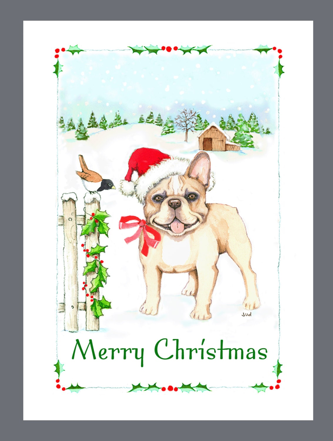 French Bulldog Christmas Cards Box of 16 Cards and 16 | Etsy