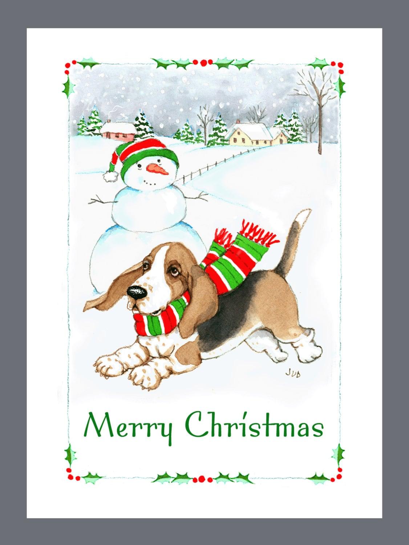 Basset Hound Dog Christmas Cards Box of 16 Cards & 16 | Etsy