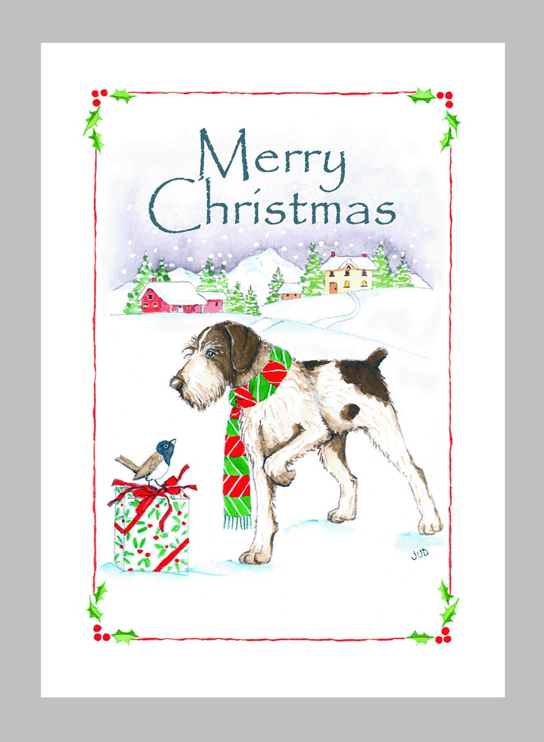 German Wirehaired Pointer Christmas Card Box of 16 Cards & image 0