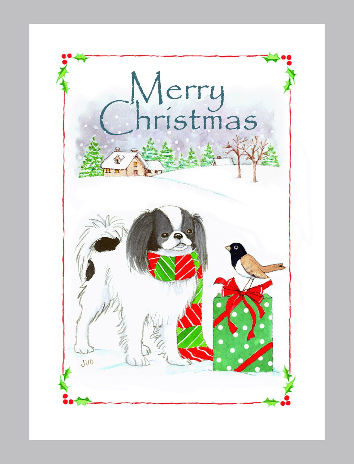 Japanese Chin Christmas cards Box of 16 Cards and Envelopes | Etsy