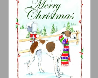 Greyhound Christmas Cards Box of 16 Cards and Envelopes