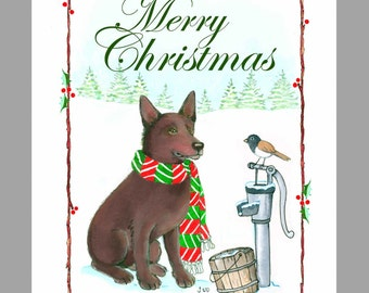 Australian Kelpie 'Brown' Christmas Cards Box of 16 Cards and 16 Envelopes