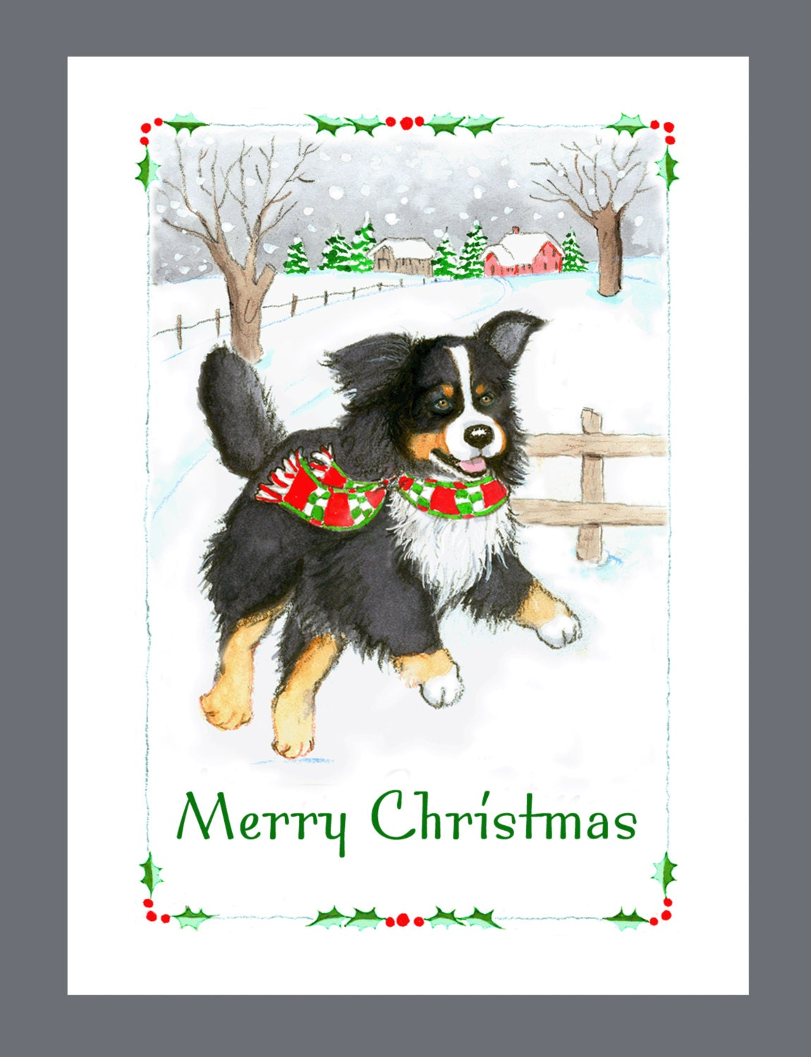 Bernese Mountain Dog Christmas Cards Box of 16 Cards and | Etsy