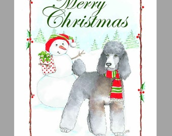 Poodle- Silver with Phantom Sable Markings, Christmas Cards, Box of 16 Cards and 16 Envelopes