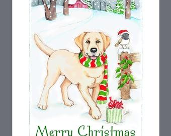Yellow Labrador Retriever Dog Christmas Cards Box of 16 Cards and Envelopes