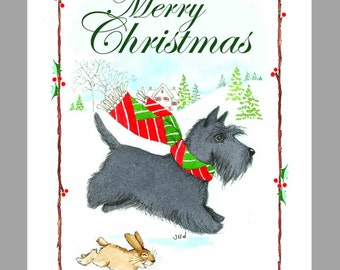 Scottish Terrier Christmas Cards, Box of 16 Cards and 16 Envelopes