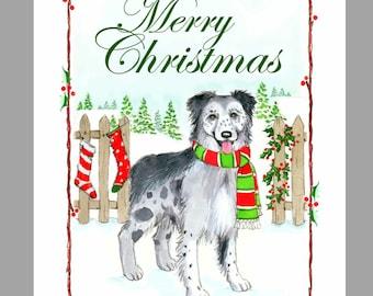 Berger des Pyrenees a Face Rase Dog Christmas Cards Box of 16 Cards & Envelopes