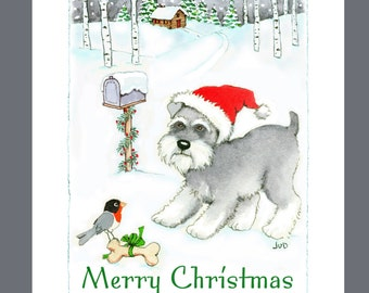 Schnauzer Christmas Cards Box of 16 Cards and 16 Envelopes