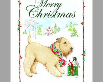 Soft Coated Wheaten Terrier, Christmas Cards Box of 16 Cards and 16 Envelopes